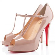 Replica Christian Louboutin Burlina 120mm Peep Toe Pumps Nude Cheap Fake Shoes