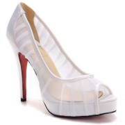 Replica Christian Louboutin Champagne Chiffon Ambrosina 120mm Peep Toe Pumps White Cheap Fake Shoes