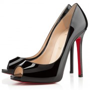 Replica Christian Louboutin Flo 120mm Peep Toe Pumps Black Cheap Fake Shoes