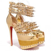 Replica Christian Louboutin Isolde 160mm Peep Toe Pumps Bronze Cheap Fake Shoes