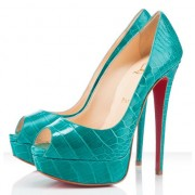 Replica Christian Louboutin Lady 140mm Peep Toe Pumps Jade Cheap Fake Shoes