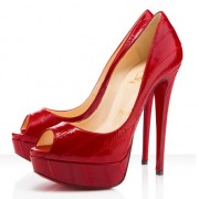 Replica Christian Louboutin Lady 140mm Peep Toe Pumps Red Cheap Fake Shoes