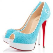 Replica Christian Louboutin Lady 140mm Peep Toe Pumps Light Blue Cheap Fake Shoes
