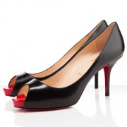 Replica Christian Louboutin Mater Claude 80mm Peep Toe Pumps Black/Red Cheap Fake Shoes