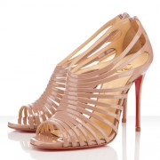 Replica Christian Louboutin Multibrida 100mm Peep Toe Pumps Nude Cheap Fake Shoes