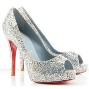 Replica Christian Louboutin Very Riche 120mm Special Occasion Silver Cheap Fake Shoes