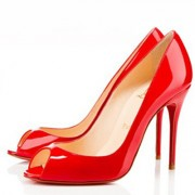 Replica Christian Louboutin Sexy 100mm Peep Toe Pumps Red Cheap Fake Shoes