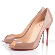 Replica Christian Louboutin Sexy 100mm Peep Toe Pumps Nude Cheap Fake Shoes