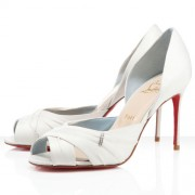 Replica Christian Louboutin Tres Ophrah 80mm Peep Toe Pumps Off White Cheap Fake Shoes