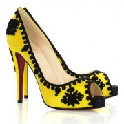Replica Christian Louboutin Very Brode 120mm Peep Toe Pumps Yellow Cheap Fake Shoes