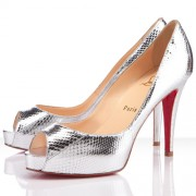 Replica Christian Louboutin Very Prive 100mm Peep Toe Pumps Silver Cheap Fake Shoes