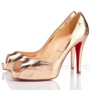 Replica Christian Louboutin Very Prive 100mm Peep Toe Pumps Gold Cheap Fake Shoes