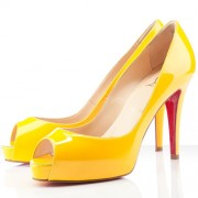 Replica Christian Louboutin Very Prive 100mm Peep Toe Pumps Yellow Cheap Fake Shoes