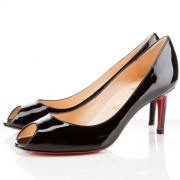 Replica Christian Louboutin You You 80mm Peep Toe Pumps Black Cheap Fake Shoes