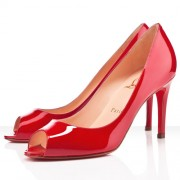 Replica Christian Louboutin You You 80mm Peep Toe Pumps Red Cheap Fake Shoes