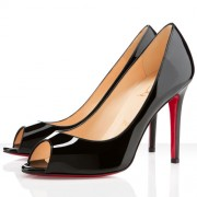 Replica Christian Louboutin You You 100mm Peep Toe Pumps Black Cheap Fake Shoes