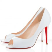 Replica Christian Louboutin You You 100mm Peep Toe Pumps White Cheap Fake Shoes