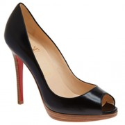 Replica Christian Louboutin Yolanda 120mm Peep Toe Pumps Black Cheap Fake Shoes