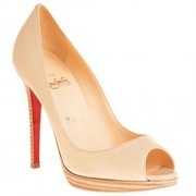 Replica Christian Louboutin Yolanda 120mm Peep Toe Pumps Nude Cheap Fake Shoes