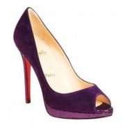 Replica Christian Louboutin Yolanda 120mm Peep Toe Pumps Purple Cheap Fake Shoes