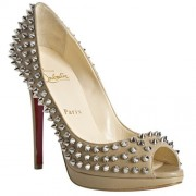 Replica Christian Louboutin Yolanda Spikes 120mm Peep Toe Pumps Beige Cheap Fake Shoes