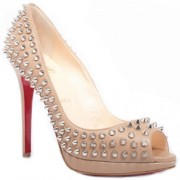 Replica Christian Louboutin Yolanda Spikes 120mm Peep Toe Pumps Pink Cheap Fake Shoes