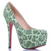 Replica Christian Louboutin Daffodile Lace 160mm Platforms Green Cheap Fake Shoes
