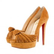 Replica Christian Louboutin Greissimo 140mm Peep Toe Pumps Yellow Cheap Fake Shoes