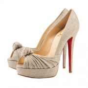 Replica Christian Louboutin Greissimo 140mm Peep Toe Pumps Taupe Cheap Fake Shoes