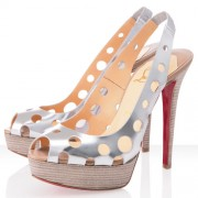Replica Christian Louboutin Ginza 140mm Peep Toe Pumps Argento Cheap Fake Shoes