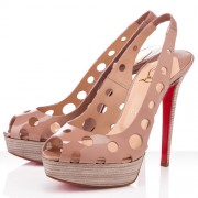 Replica Christian Louboutin Ginza 140mm Peep Toe Pumps Nude Cheap Fake Shoes