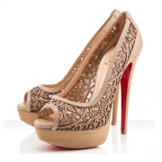 Replica Christian Louboutin Pampas 140mm Peep Toe Pumps Beige Cheap Fake Shoes