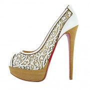 Replica Christian Louboutin Pampas 140mm Peep Toe Pumps White Cheap Fake Shoes