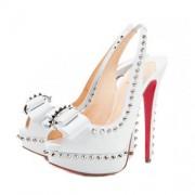 Replica Christian Louboutin Lady Clou 140mm Slingbacks White Cheap Fake Shoes