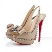 Replica Christian Louboutin Lady Clou 140mm Slingbacks Nude Cheap Fake Shoes