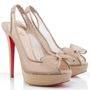 Replica Christian Louboutin Exclu 140mm Slingbacks Beige Cheap Fake Shoes