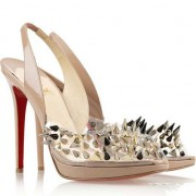 Replica Christian Louboutin Pik Pik Pik 120mm Slingbacks Nude Cheap Fake Shoes