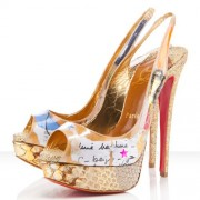 Replica Christian Louboutin Winter Trash 140mm Slingbacks Multicolor Cheap Fake Shoes