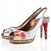 Replica Christian Louboutin Winter Trash 100mm Slingbacks Multicolor Cheap Fake Shoes