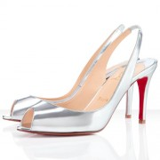 Replica Christian Louboutin You You 80mm Slingbacks Silver Cheap Fake Shoes