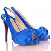 Replica Christian Louboutin Very Noeud 120mm Slingbacks Blue Cheap Fake Shoes