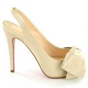 Replica Christian Louboutin Very Noeud 120mm Slingbacks Beige Cheap Fake Shoes