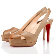Replica Christian Louboutin Soso 120mm Slingbacks Beige Cheap Fake Shoes