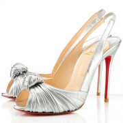 Replica Christian Louboutin Jenny 100mm Slingbacks Silver Cheap Fake Shoes