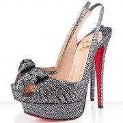 Replica Christian Louboutin Jenny 140mm Slingbacks Grey Cheap Fake Shoes