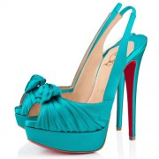 Replica Christian Louboutin Jenny 140mm Slingbacks Peacock Cheap Fake Shoes