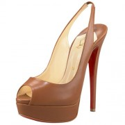 Replica Christian Louboutin Lady Peep 140mm Slingbacks Brown Cheap Fake Shoes