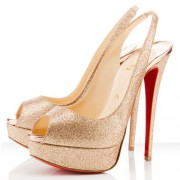 Replica Christian Louboutin Lady Peep 140mm Slingbacks Gold Cheap Fake Shoes