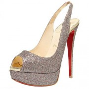 Replica Christian Louboutin Lady Peep 140mm Slingbacks Silver Cheap Fake Shoes