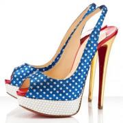 Replica Christian Louboutin Miss America 140mm Slingbacks Blue Cheap Fake Shoes